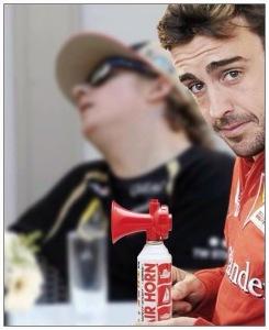 Fernando Alonso with Kimi Raikkonen